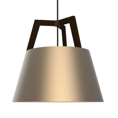 Imber LED Geometric Pendant Size: 22 H x 24 W, Finish: Dark Stained Walnut/Rose Gold