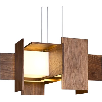 5-Light Geometric Pendant Wood Finish: Oiled Walnut