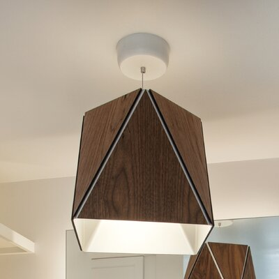 Calx 1-Light LED Geometric Pendant Finish: Dark Stained Walnut/Brushed Brass