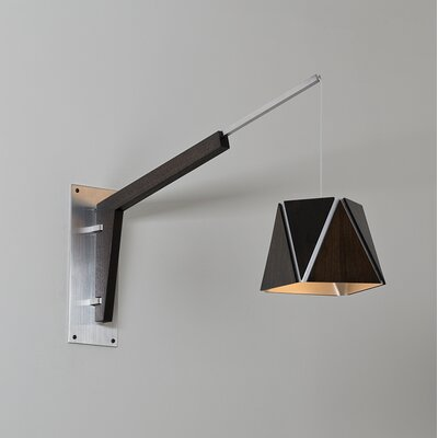 Motus Lamp Base or Clamp Finish: Textured Black Powdercoat/Dark Stained Walnut, Finish: Brushed Aluminum/Walnut