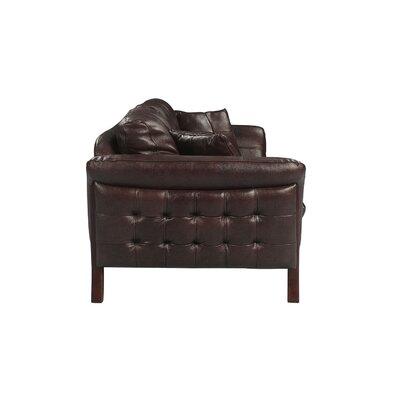 Makeba Mid-Century Modern Real Leather Sofa Upholstery: Brown