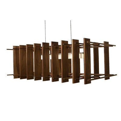 Arca 5-Light Kitchen Island Pendant Metal Finish: Black Anodized, Wood Finish: Dark Stained Walnut