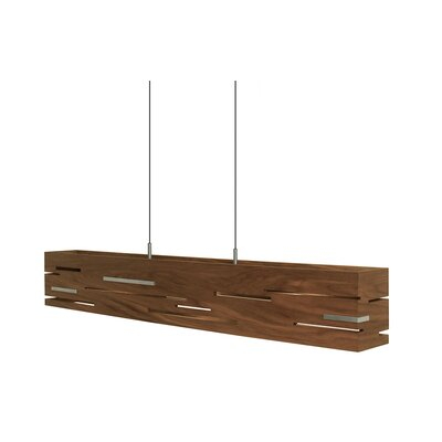 Aeris 5-Light Linear Pendant Size: 30, Wood Finish: Dark Stained Walnut, Metal Finish: Black Anodized