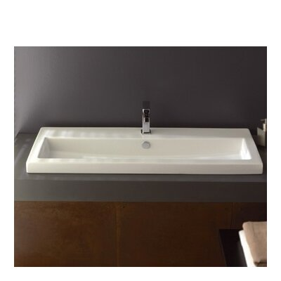 40 Ceramic 47 Wall Mounted Bathroom Sink with Overflow