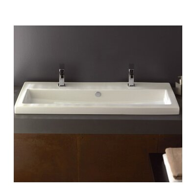 40 Ceramic 39 Wall Mounted Bathroom Sink with Overflow