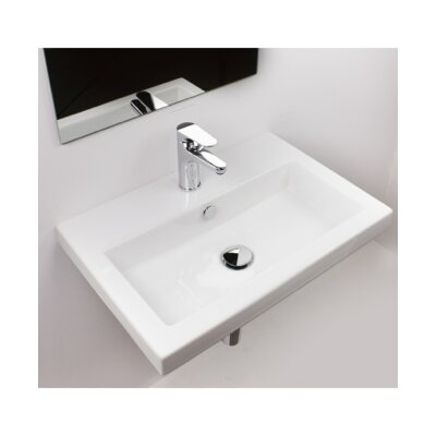 40 Ceramic 24 Wall Mount Bathroom Sink with Overflow Faucet Mount: 3 Hole