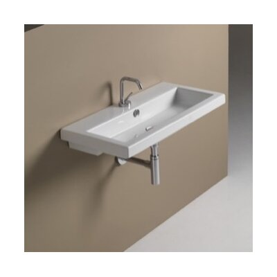 40 Ceramic 32 Wall Mounted Bathroom Sink with Overflow Faucet Mount: No Hole