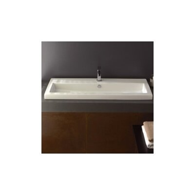40 Ceramic 48 Wall Mount Bathroom Sink with Overflow Faucet Mount: Single Hole