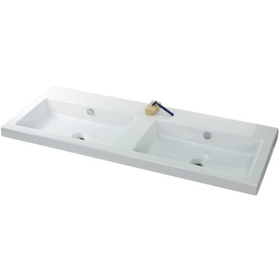 Cangas Ceramic 48 Console Bathroom Sink with Overflow Faucet Mount: No Hole
