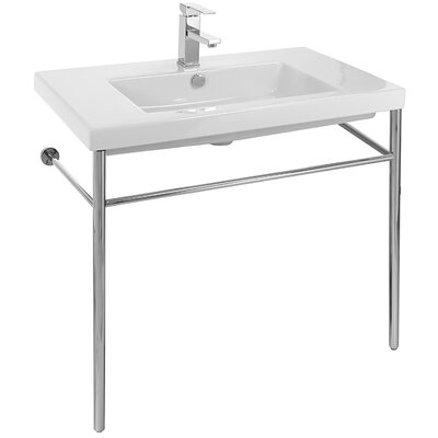 Cangas Ceramic 32 Console Bathroom Sink with Overflow Faucet Mount: No Hole