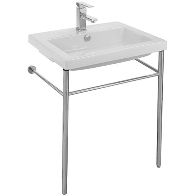 Cangas Ceramic 24 Console Bathroom Sink with Overflow Faucet Mount: Single