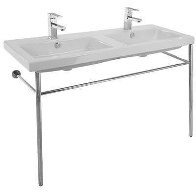 Cangas Ceramic 48 Console Bathroom Sink with Overflow Faucet Mount: Double