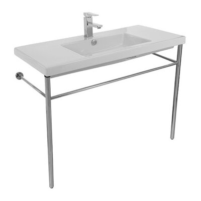 Cangas Ceramic 40 Console Bathroom Sink with Overflow Faucet Mount: No Hole