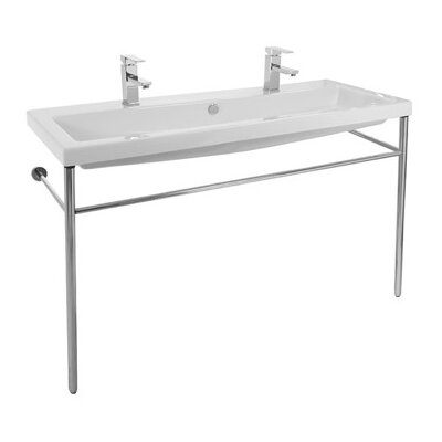Cangas Ceramic 47 Console Bathroom Sink with Overflow Faucet Mount: Double