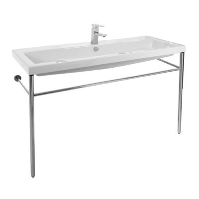 Cangas Ceramic 47 Console Bathroom Sink with Overflow Faucet Mount: 8 Centers