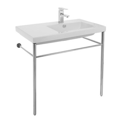 Condal Ceramic 32 Console Bathroom Sink with Overflow Faucet Mount: Single