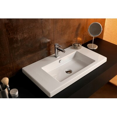 Cangas Ceramic Self Rimming Bathroom Sink Faucet Mount: No Hole