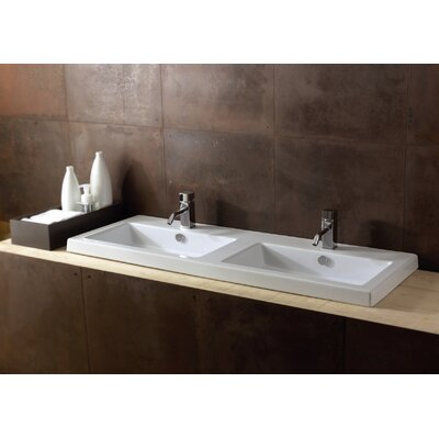 Cangas Ceramic Rectangular Drop-In Bathroom Sink with Overflow Faucet Mount: 8 Centers