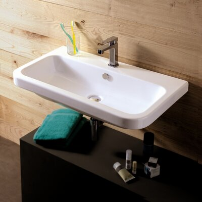 Electra Ceramic 32 Wall Mount Bathroom Sink with Overflow Faucet Mount: 8 Centers