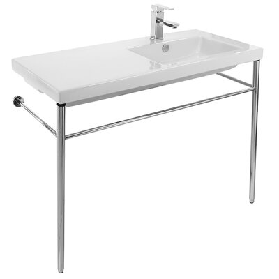 Condal Ceramic 39 Console Bathroom Sink with Overflow Faucet Mount: 8 Centers