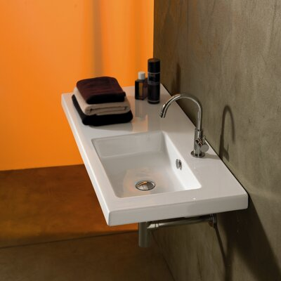 Condal Ceramic 39 Wall Mounted Sink with Overflow Faucet Mount: Single Hole