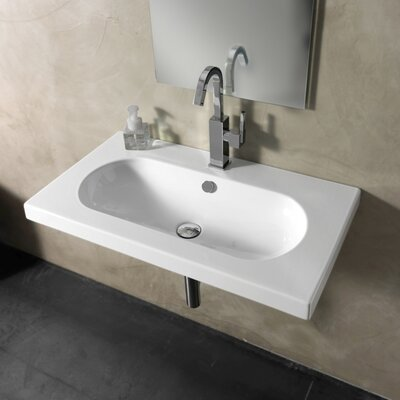 EDO Wide Ceramic 32 Wall Mount Bathroom Sink with Overflow Faucet Mount: 8 Centers