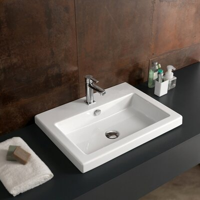 Cangas Ceramic Self Rimming Bathroom Sink Faucet Mount: Single Hole