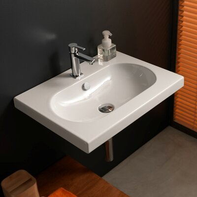 EDO Wide Ceramic 24 Wall Mounted Sink with Overflow Faucet Mount: 8 Centers