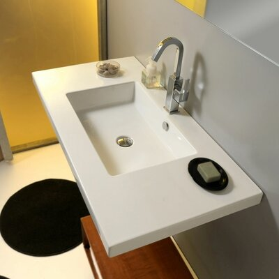 Mars Ceramic 42 Wall Mount Bathroom Sink with Overflow Faucet Mount: Single Hole