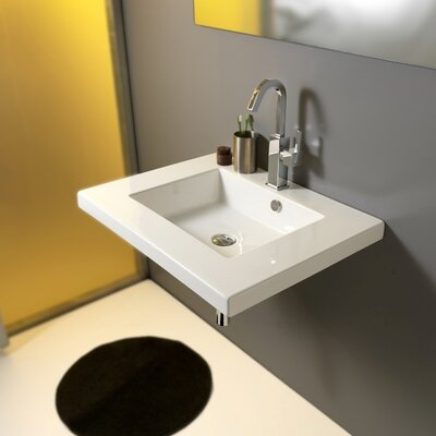 Mars Ceramic 28 Wall Mount Bathroom Sink with Overflow Faucet Mount: No Hole