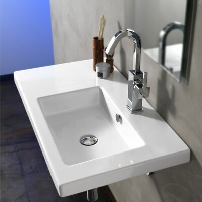 Condal Ceramic 32 Wall Mounted Sink with Overflow Faucet Mount: 8 Centers