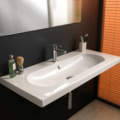 EDO Wide Ceramic Self rimming sink with Overflow Faucet Mount: No Hole