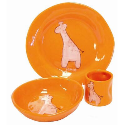 Three Piece Dish Set Design: Orange Giraffe