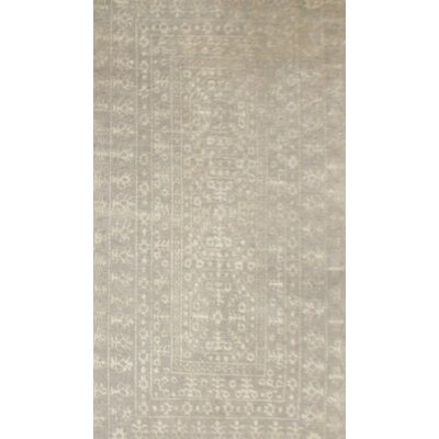Medallion Hand-Knotted Gray Area Rug Rug Size: 9' x 12'