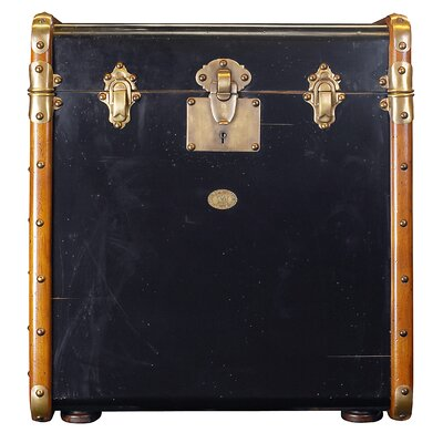 Cheap Authentic Models Stateroom Trunk End Table in Black with Honey (AMD1779)