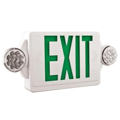 Quantum Thermoplastic LED Emergency Exit Light and Lamp Combo