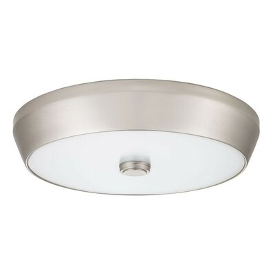Deep Pan Flush Mount Finish: Brushed Nickel, Bulb Color Temperature: 3000K