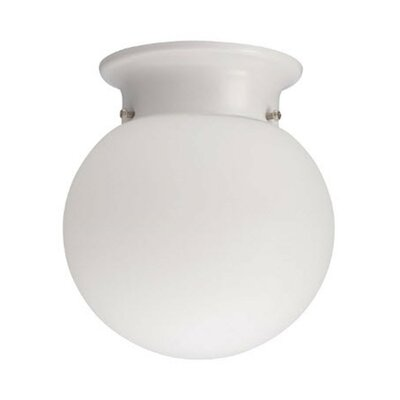 Globe 1-Light LED Flush Mount Finish: White, Bulb Color Temperature: 3000K