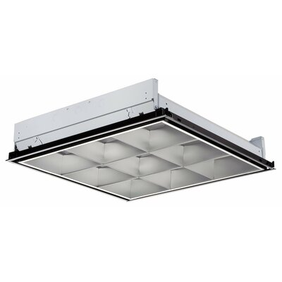 Parabolic 2-Light Fluorescent Troffer Semi Flush Mount