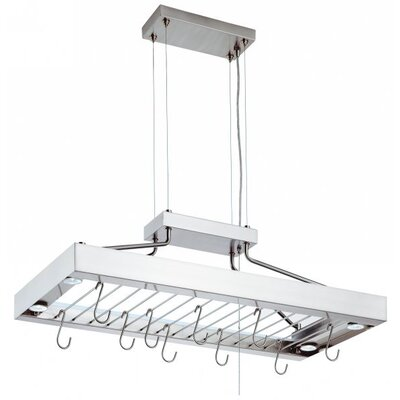 Pot Rack Decorative Linear in Polished Stainless Steel