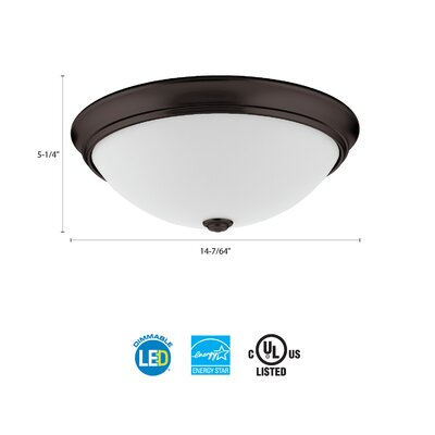 Essentials LED Round D�cor 1-Light Flush Mount Finish: Bronze, Size: 4.5 H x 14 W x 14 D, Bulb Color Temperature: 3000K