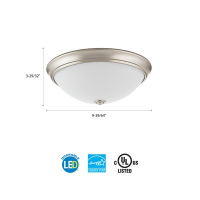 Essentials LED Round D�cor 1-Light Flush Mount Finish: Brushed Nickel, Size: 4.5 H x 10 W x 10 D, Bulb Color Temperature: 4000K