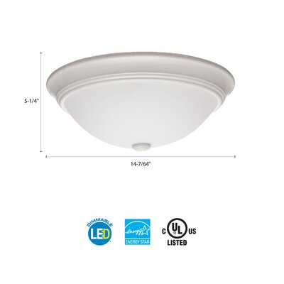 Essentials LED Round D�cor 1-Light Flush Mount Finish: White, Size: 4.5 H x 14 W x 14 D, Bulb Color Temperature: 3000K