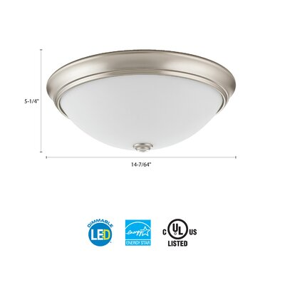Essentials LED Round D�cor 1-Light Flush Mount Finish: Brushed Nickel, Size: 4.5 H x 14 W x 14 D, Bulb Color Temperature: 3000K