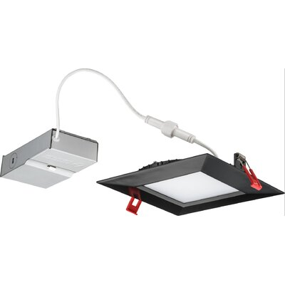 6 Ultra Thin Dimmable LED Recessed Retrofit Downlight with Smooth Trim Finish: Matte Black, Bulb Color Temperature: 4000K