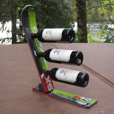 Snow 3 Bottle Tabletop Wine Rack Finish: Black / Green / White