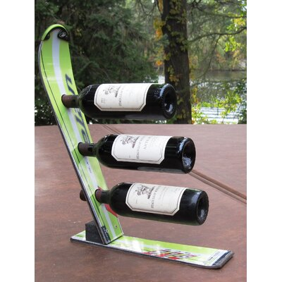 Snow 3 Bottle Tabletop Wine Rack Finish: Green Elan