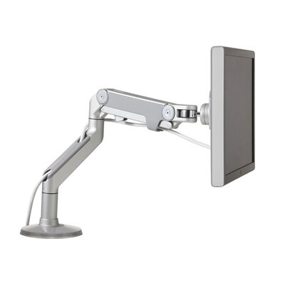 M8 Monitor Height Adjustable Desk Mount Base Type: Bolt-Through, Finish: Silver with Gray Trim