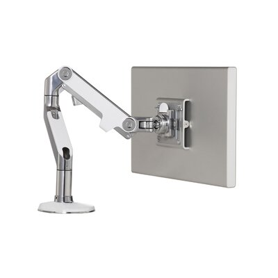 M8 Monitor Height Adjustable Desk Mount Base Type: Bolt-Through, Finish: Polished Aluminum with White Trim