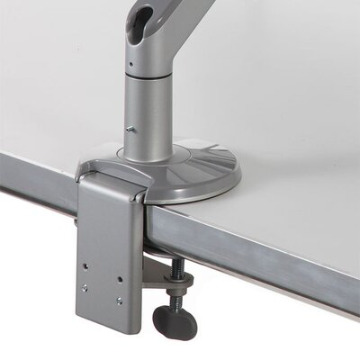 M8 Monitor Height Adjustable Desk Mount Finish: Silver with Gray Trim, Base Type: Clamp